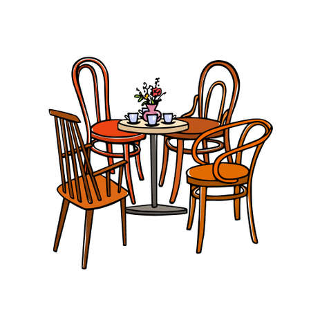 A Vector illustration of hand drawn coffee table for four and vintage chairs. Lovely scene of retro cafe. Ink drawing, graphic style. Beautiful design elements.