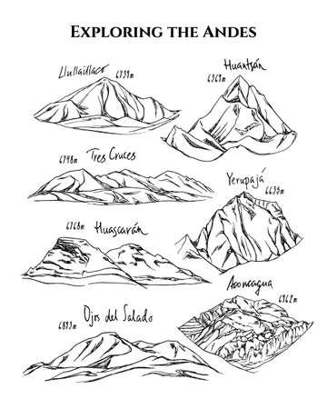手描きの山頂  イラスト・ベクター素材