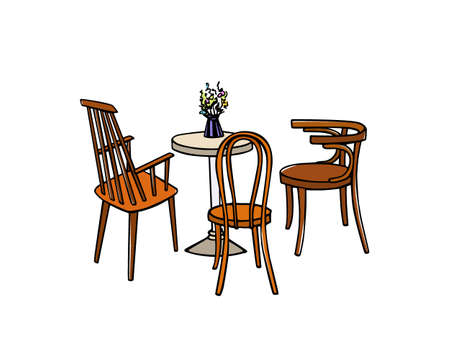 vintage furniture: Cafe furniture illustration