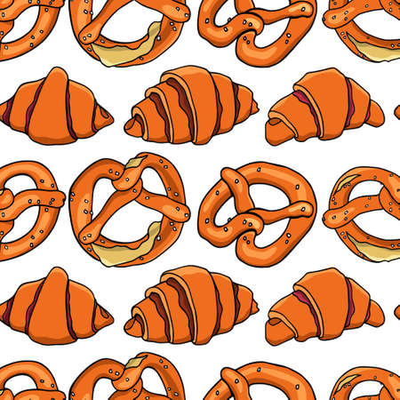 bretzel: Hand drawn bretzels pattern Illustration