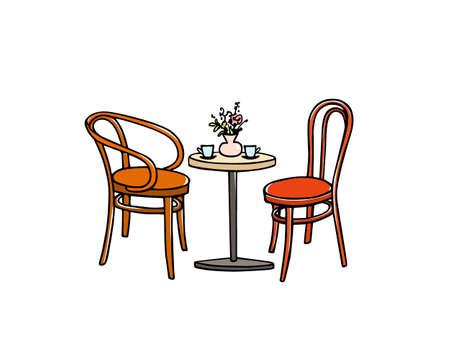 Cafe furniture illustration