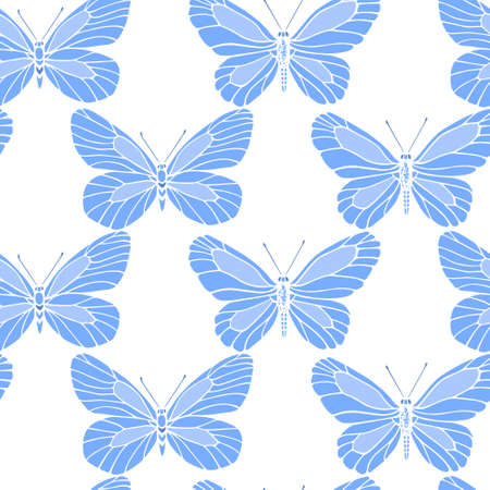 Pattern with hand drawn cabbage butterflies.