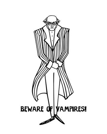 cautionary: Vector illustration of hand drawn vampire with cautionary inscription. Elegant, old-fashioned vampire standing behind the text. Funny Halloween vector card, beautiful design elements. Illustration