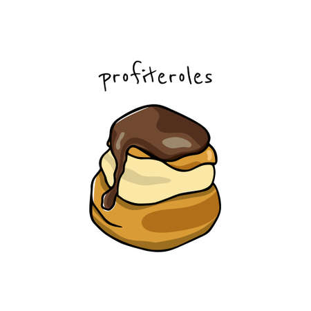 Vector illustration of hand drawn chocolate profiterole. Traditional pastry illustration. Beautiful food design elements.