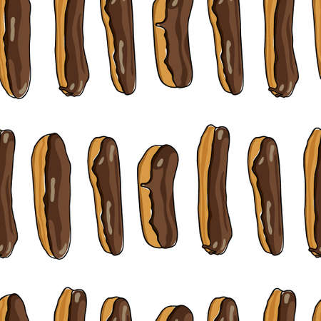 Vector seamless pattern with hand drawn chocolate eclairs. Traditional pastry illustration. Beautiful food design elements.
