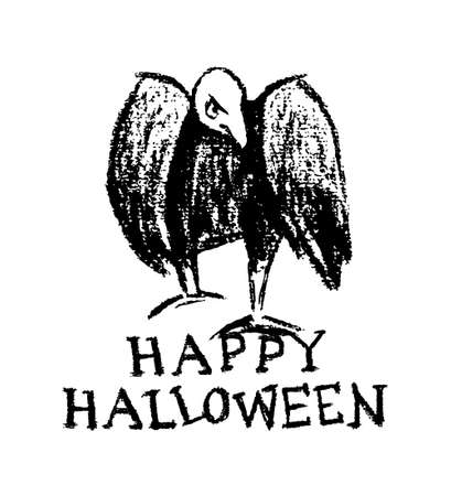 morose: Vector Halloween greeting card. Vector illustration of hand drawn creepy and comic vulture. Charcoal drawing, beautiful Halloween design elements. Illustration