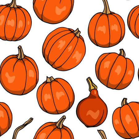 Vector seamless pattern with  hand drawn sugar pumpkins. Ink drawing, beautiful vegetarian design elements.