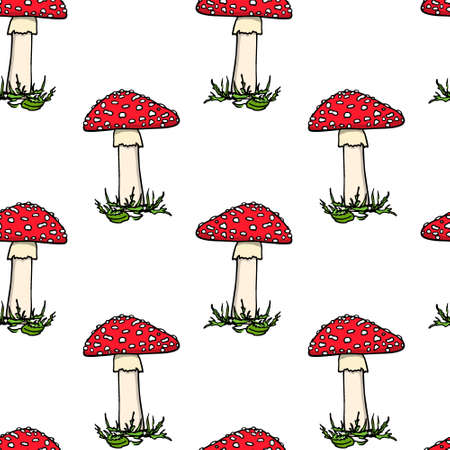 Vector seamless pattern with hand drawn poisonous fungus Amanita. Ink drawing, graphic style. Beautiful design elements. Illustration