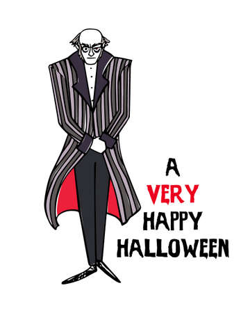 A vector Halloween greeting card with hand drawn vampire on a white background.