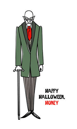Halloween greeting card with hand drawn vampire.