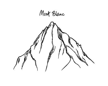 Vector illustration of hand drawn Mont Blanc peak. Ink drawing, graphic style. Perfect for travel, sport or spiritual designs.