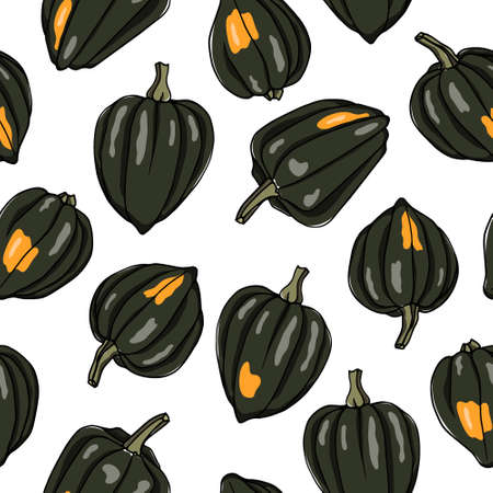 Hand drawn acorn pumpkins. Illustration