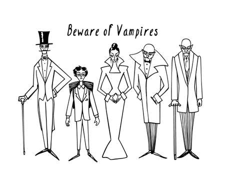 cautionary: Vector illustration of hand drawn group of vampires with cautionary inscription. Gaunt, old-fashioned elegant vampires staring on viewer. Funny Halloween vector card, beautiful design elements. Illustration