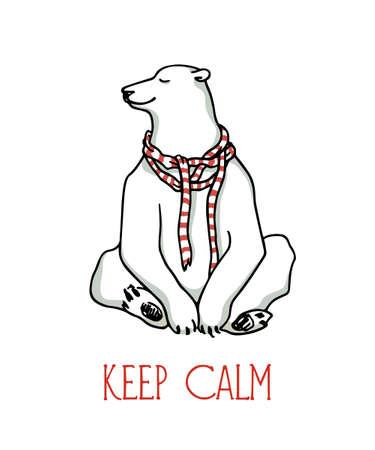Vector illustration of hand drawn cute polar bear sitting with its eyes shut.