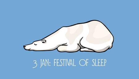 Vector Festival of Sleep day card. Hand drawn cute polar bear sleeping in a funny position. Beautiful ink drawing, funny card.