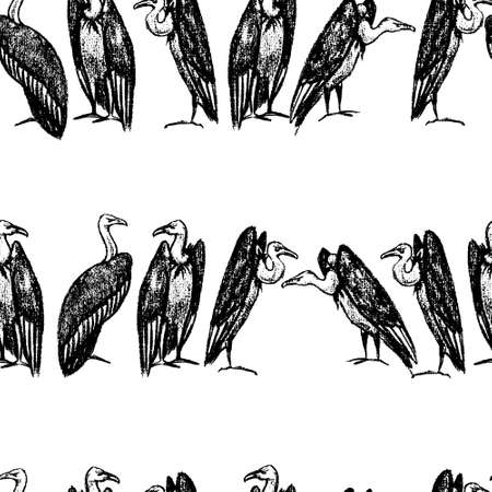 A Vector seamless pattern with hand drawn creepy and comic vultures. Charcoal drawing, beautiful Halloween design elements. Illustration