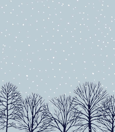 A Vector card with hand drawn winter trees under the snowfall at twilight. Beautiful ink drawing.