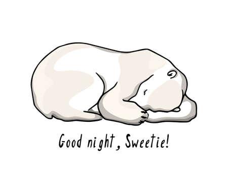 Vector card with hand drawn polar bear Vettoriali