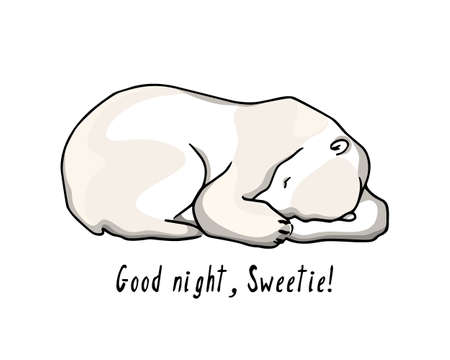 Vector card with hand drawn polar bear Ilustracja
