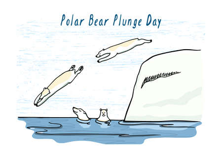 Vector Polar Bear Plunge day card.