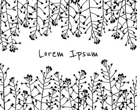 Hand drawn meadow grass pattern. 向量圖像