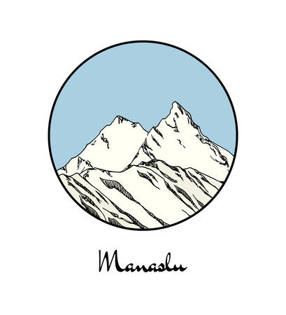 Vector emblem with hand drawn Himalayan mountain Manaslu. Ink drawing, graphic style. Perfect for travel, sport or spiritual designs.