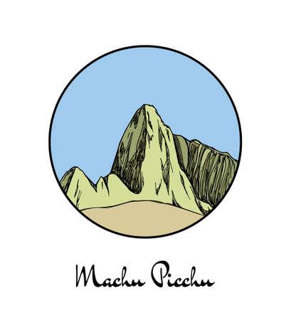 Hand drawn famous mountain Machu Picchu