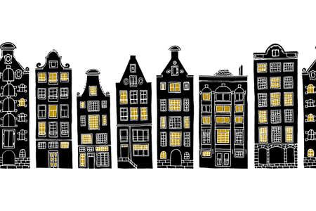 Horizontaal naadloos patroon met de hand getrokken oude huizen van Amsterdam met lichtgevende vensters.
