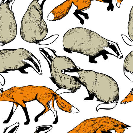 Illustration in seamless pattern with cute hand drawn badgers and foxes. Ink drawing, graphic style. Beautiful design elements. Ilustracja