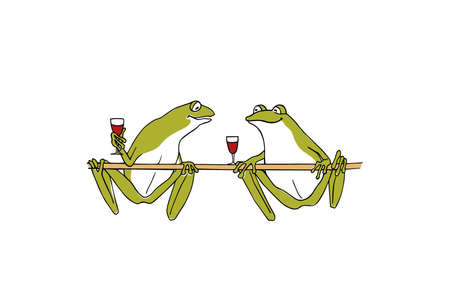 Vector illustration of hand drawn cute frogs chilling out and drinking wine . Beautiful design elements, ink drawing, funny illustration.