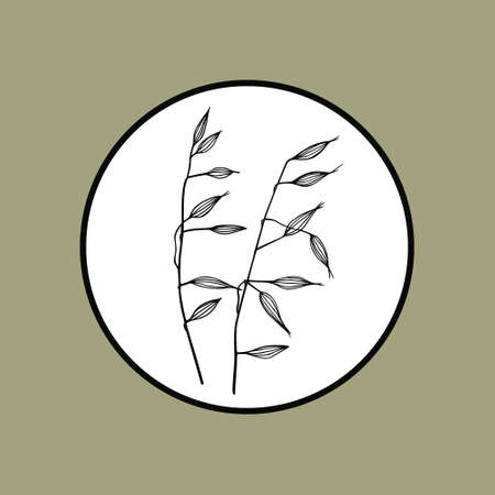 Vector round emblem of hand drawn meadow grass. Ink drawing, graphic style. 向量圖像