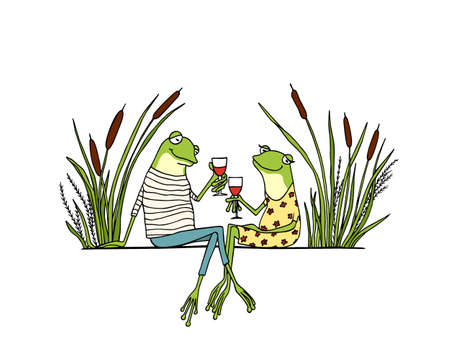 Vector illustration of hand drawn cute frog couple drinking wine on a date. Beautiful design elements, ink drawing, funny romantic illustration. Perfect for Valentines day celebration.
