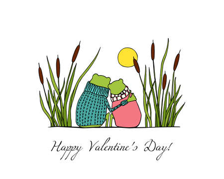 Vector illustration of hand drawn cute frog couple sitting close to each other among water plants. Beautiful design elements, funny romantic illustration. Perfect for Valentines day celebration.