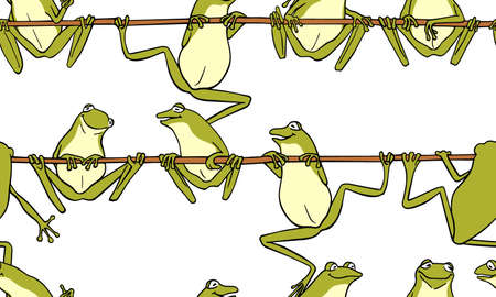 Vector seamless pattern with hand drawn cute frogs having conversation on branches. Beautiful design elements, ink drawing, funny illustration