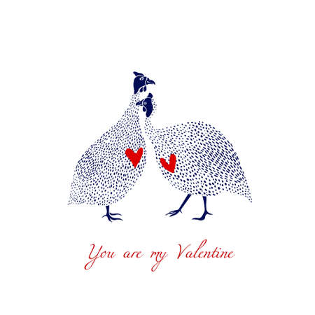 Vector illustration of hand drawn guinea fowls couple in love. Beautiful design elements, ink drawing, funny romantic illustration. Perfect for Valentines day celebration.
