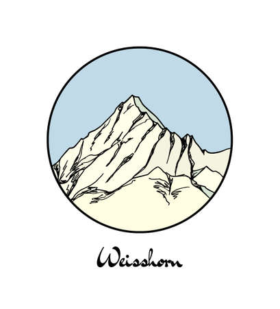 Vector emblem with hand drawn Alpine peak Weisshorn. Ink drawing, graphic style. Perfect for travel, sport or spiritual designs.