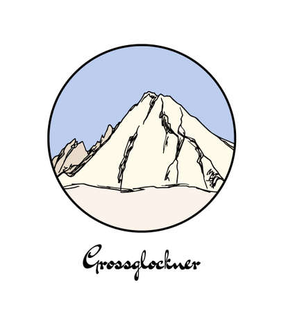 Vector emblem with hand drawn Alpine peak Grossglockner. Ink drawing, graphic style. Perfect for travel, sport or spiritual designs. 矢量图像