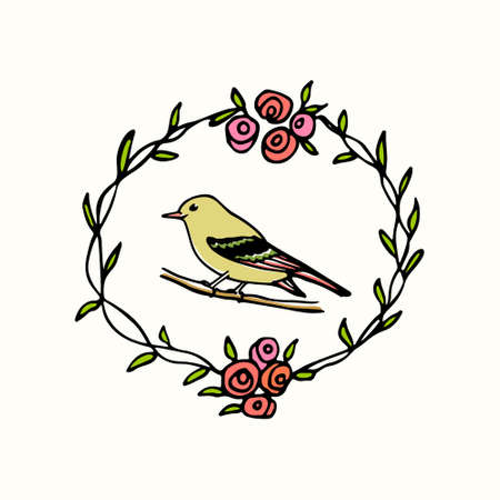 Hand Drawn Rose Wreath With A Small Bird Made In Vector. Beautiful ...