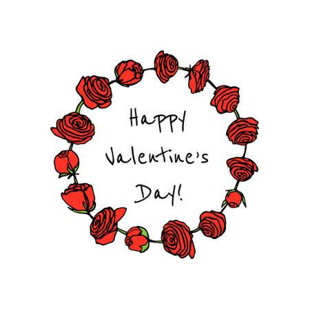 Hand drawn rose wreath Illustration