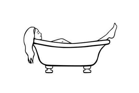 Vector Illustration einer jungen Frau, die in Weinlesebadewanne legt. Tuschezeichnung, Grafikstil. Schöne Illustration der Entspannung und des Komforts.