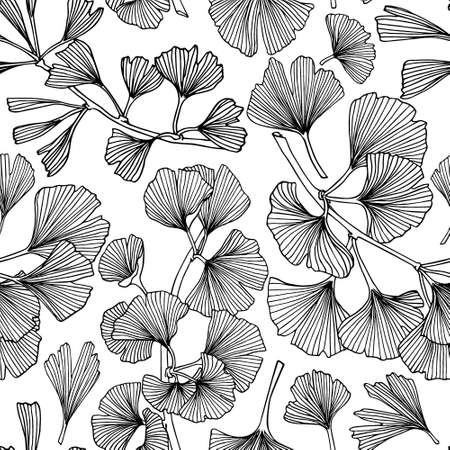 Vector seamless pattern with hand drawn Ginkgo biloba leaves. Ink drawing, graphic style, perfect for prints and patterns.