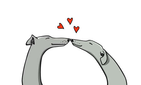 Vector illustration of hand drawn greyhound dog couple in love. Beautiful design elements, ink drawing, funny romantic illustration. Perfect for Valentine's day celebration. Ilustrace