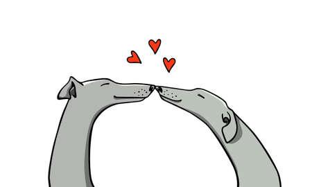 Vector l'illustrazione delle coppie disegnate a mano del cane del levriero nell'amore. Bei elementi di design, disegno ad inchiostro, illustrazione romantica divertente. Perfetto per la festa di San Valentino.