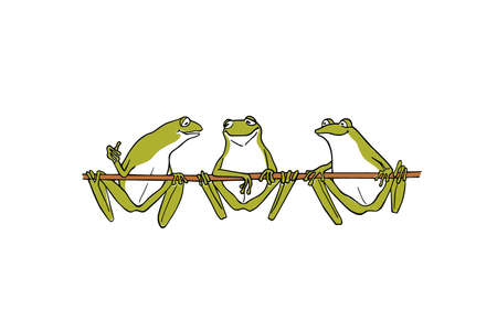 Vector illustration of hand drawn cute frogs having conversation on a branch . Beautiful design elements, ink drawing, funny illustration Ilustração