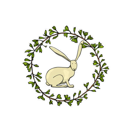 Easter card with rabbit inside a wreath.