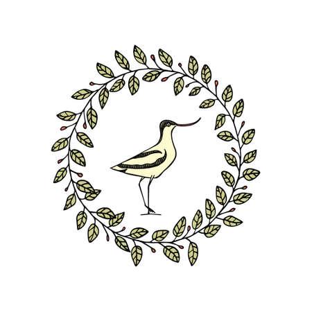 Hand drawn shorebird inside a wreath. Illustration