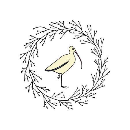 Hand drawn shorebird