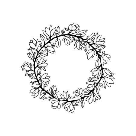 Hand drawn magnolia wreath 일러스트