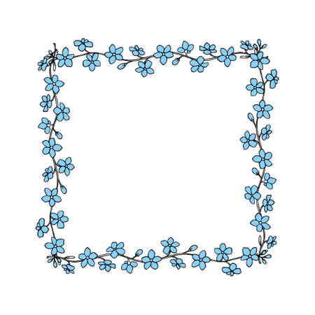 Vector card with hand drawn frame made of forget-me-not flowers. Beautiful design elements, ink drawing, perfect for Valentine's day celebration Vettoriali