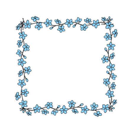 Vector kaart met hand getrokken frame gemaakt van vergeet-mij-nietjes bloemen. Mooie designelementen, inkttekening, perfect voor Valentijnsdagviering Vector Illustratie